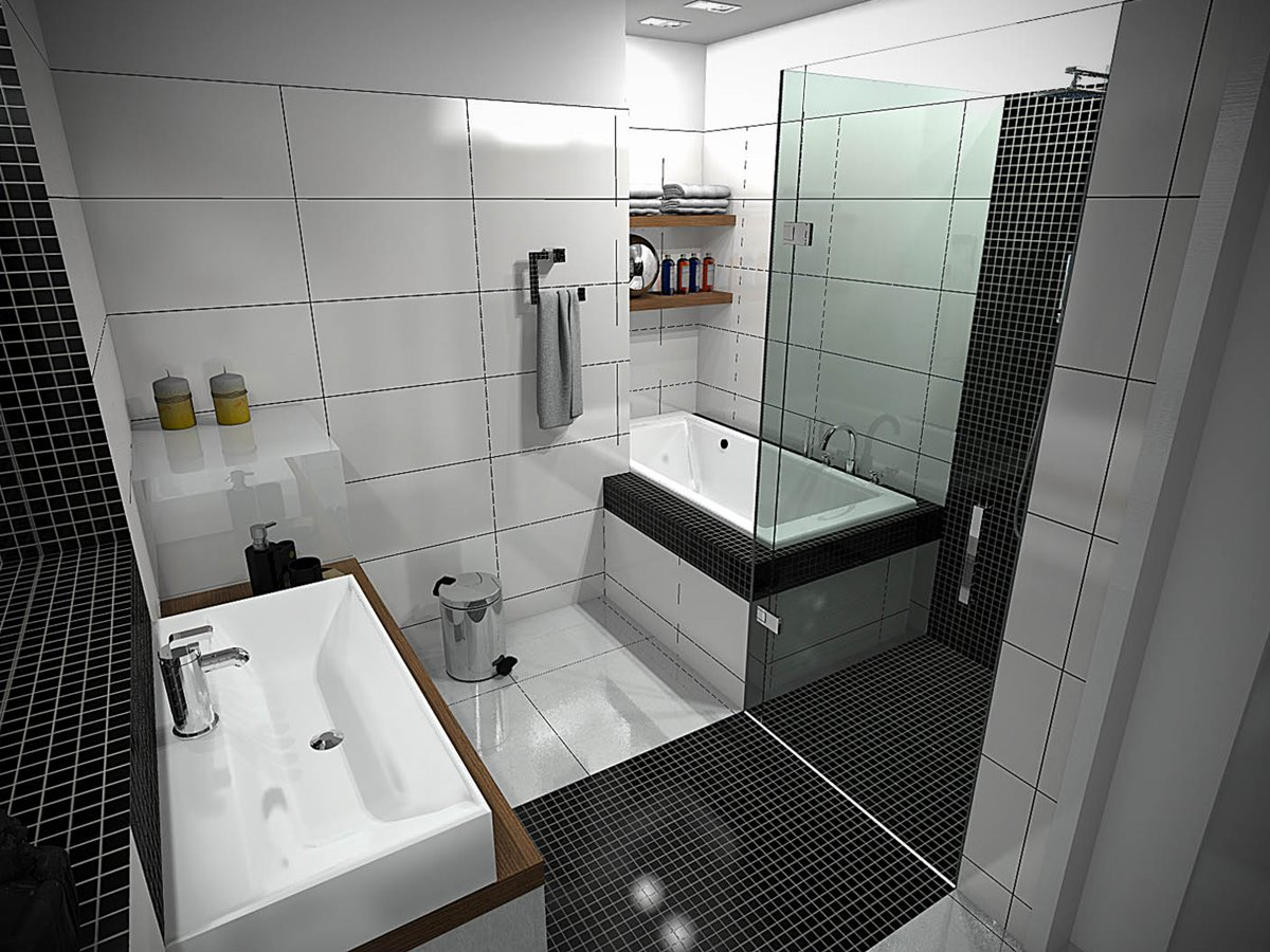 Black White Small Modern Bathroom Colors
