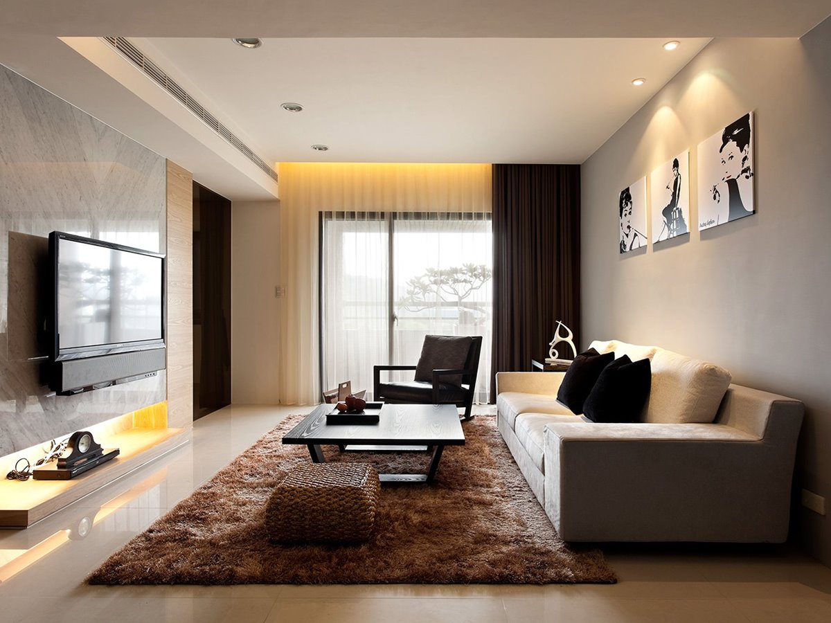 Bright Color Idea For Minimalist Living Room