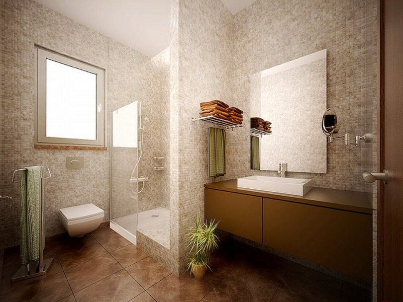 Brown Modern Bathroom In Small Room