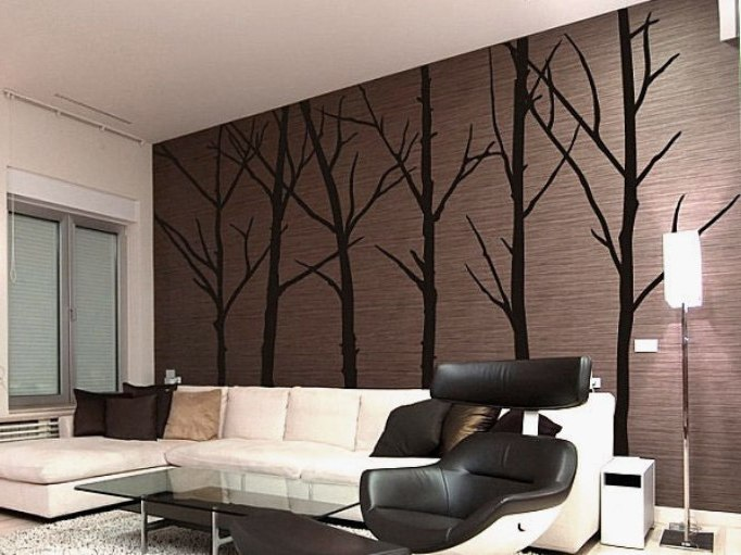 Living Room Decor Idea With Wallpaper