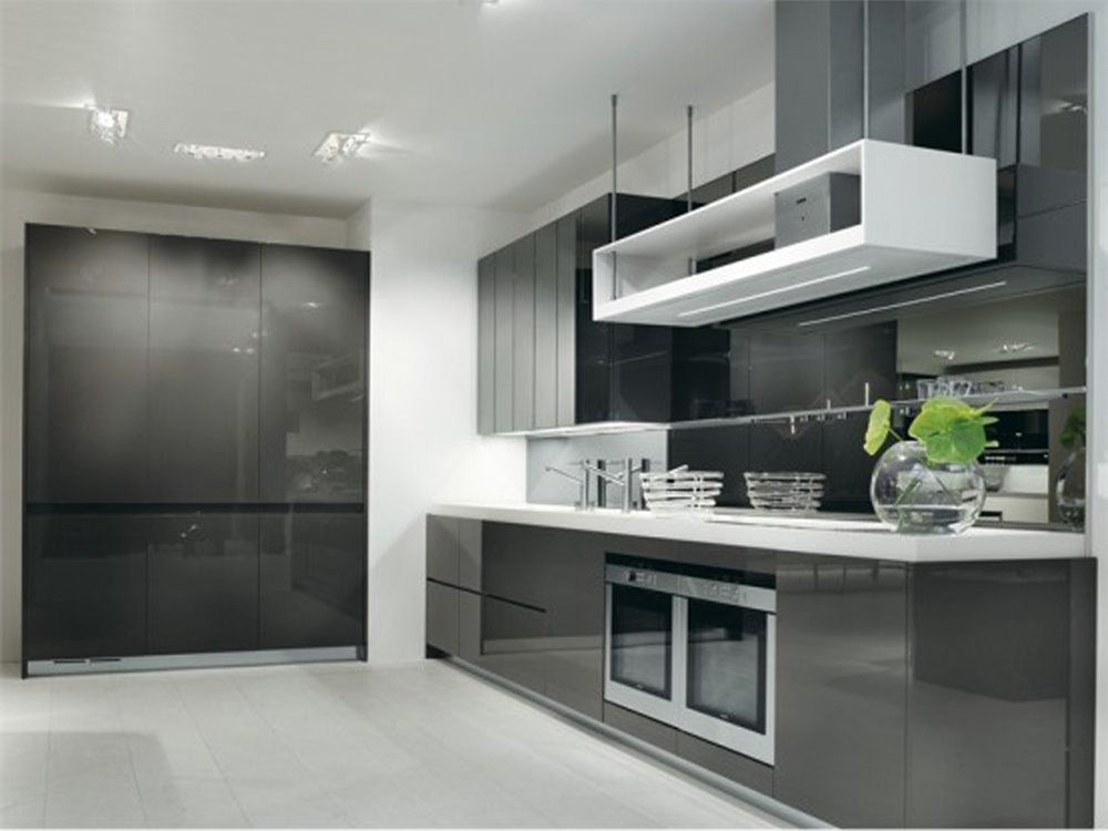 Luxury Gray White Small Kitchen Design