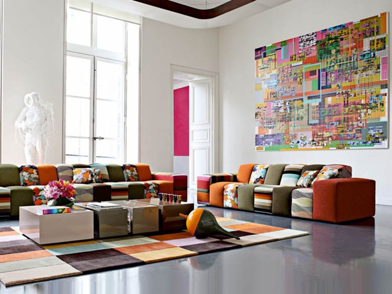 Minimalist Colorful Living Room Decoration Elegant Color