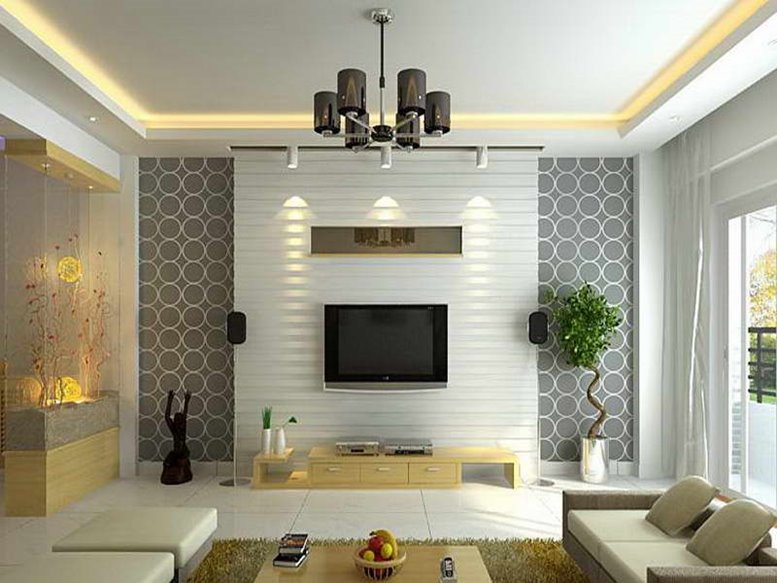 Wallpaper design for elegant living room 4 home ideas for Wallpaper on walls home decor furnishings